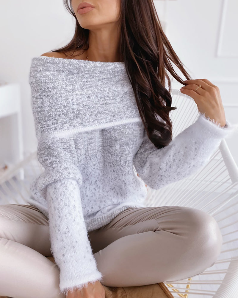 Gradient Color Long Sleeve Knitting Sweater