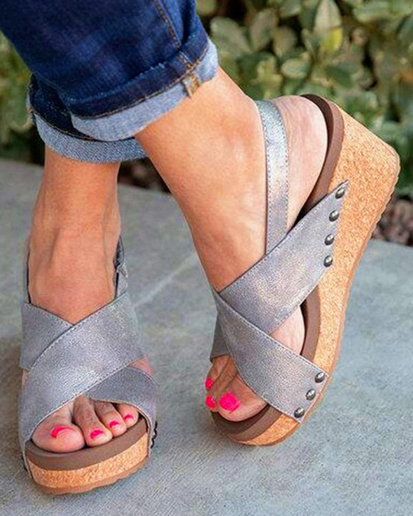 Crisscross Strap Wedge Sandals
