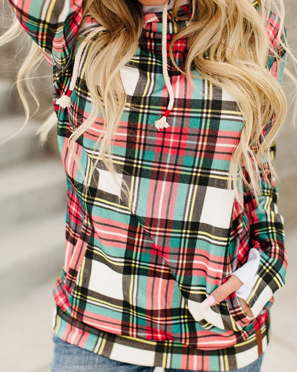 Plaid Pocket Design Long Sleeve Hoodie