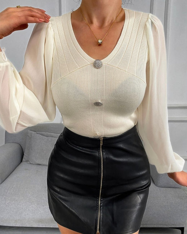Buttoned Long Sleeve Knit Casual Sweater