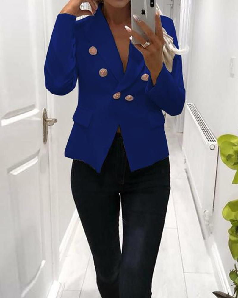 Plain Double Breasted Button Blazer