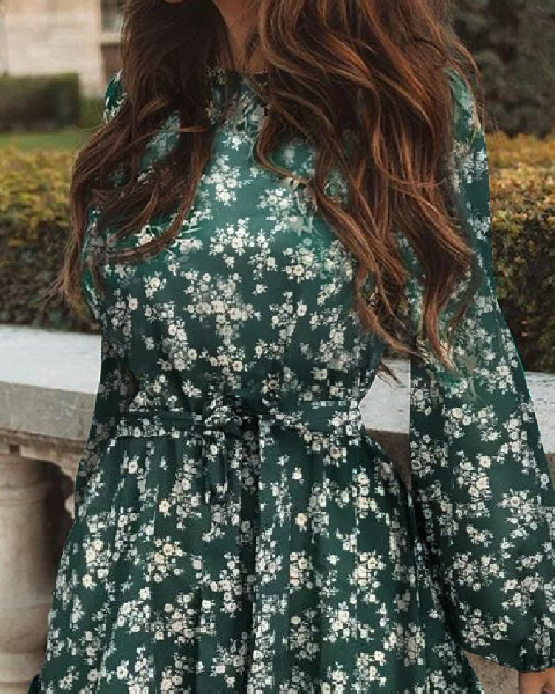 Floral Print Lantern Sleeve Ruffles Dress