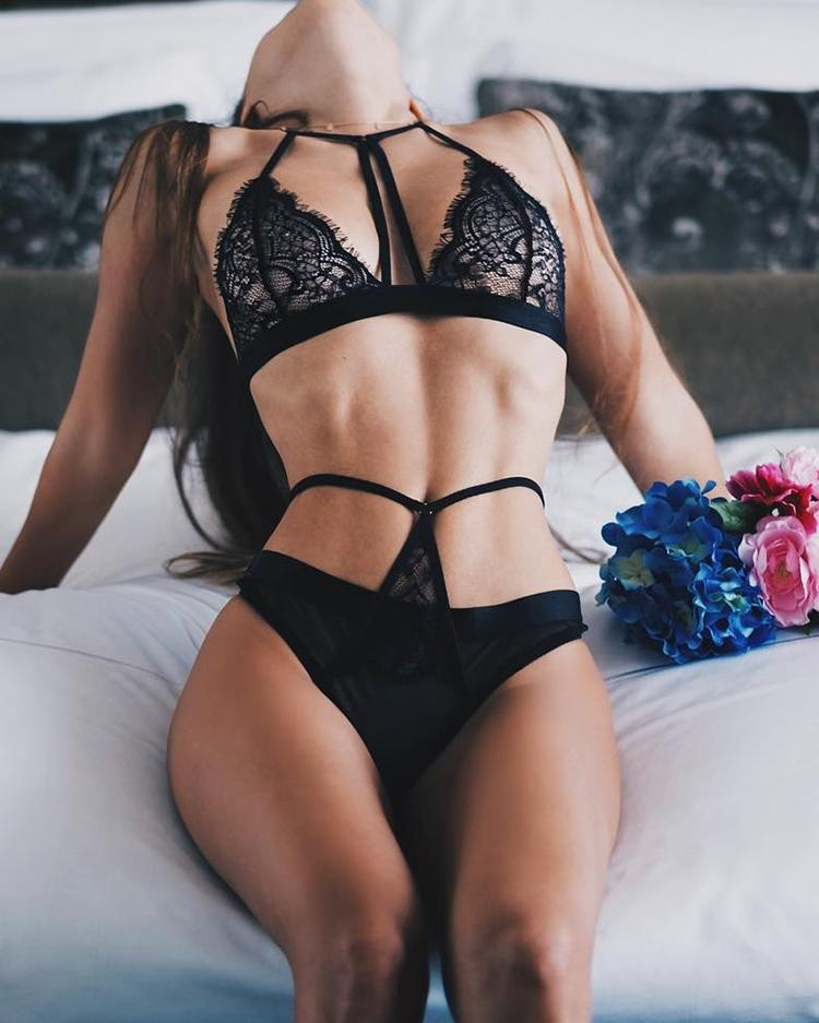 Sexy Eyelash Caged Sleeveless Lingerie Set