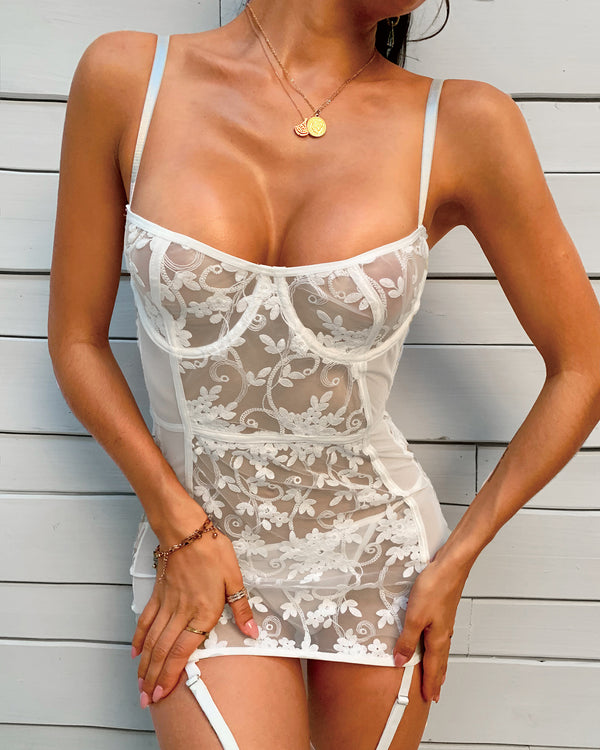 Floral Lace Sheer Mesh Babydoll