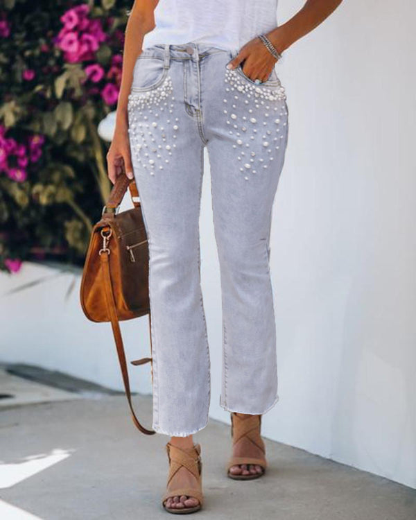 Beaded Pocket Design Bootcut Jeans