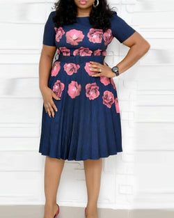 Floral Print Round Neck Short Sleeve Wasit Tie Midi Swing Dress
