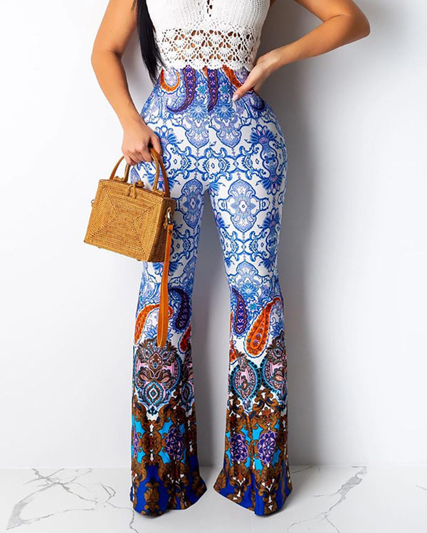 High Waist Ethnic Print Bell-bottomed Pants