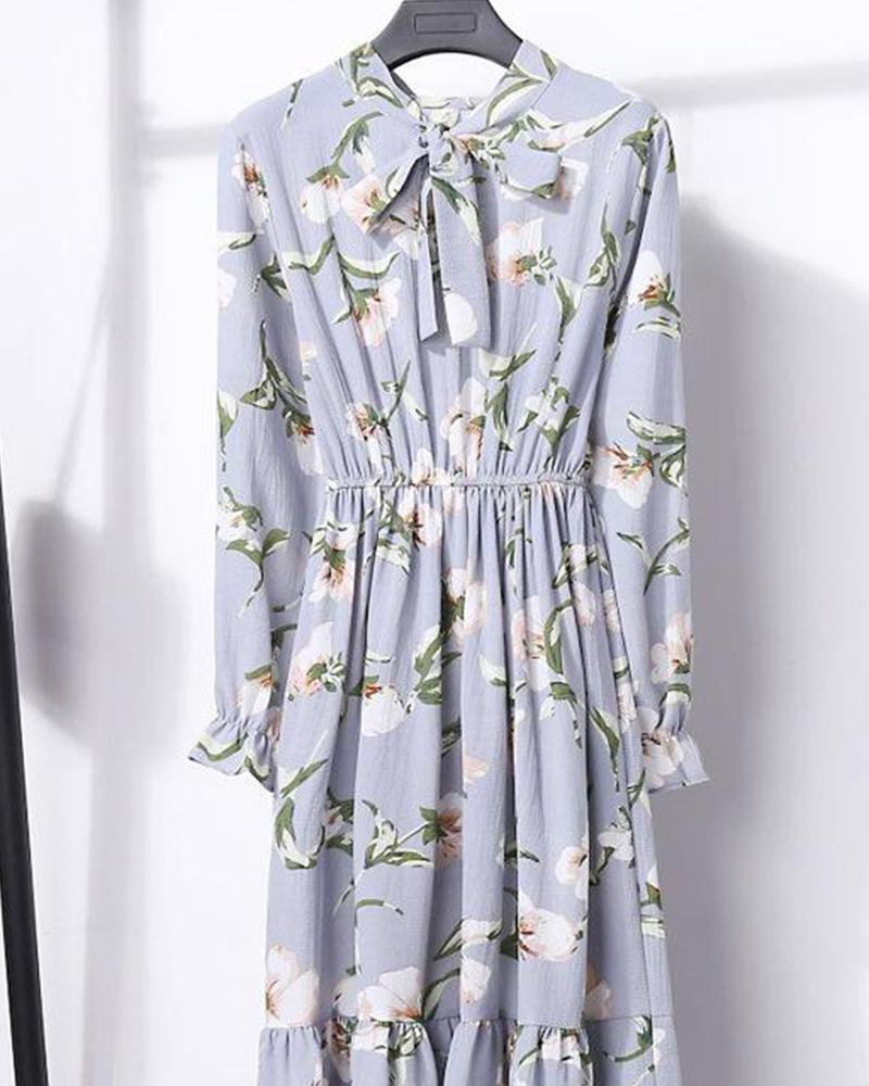 Floral Tie Neck Maxi Dress