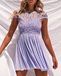 Crochet Lace Flower Design Pleated Dress