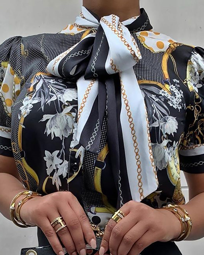Chains Print Tied Neck Casual Blouse