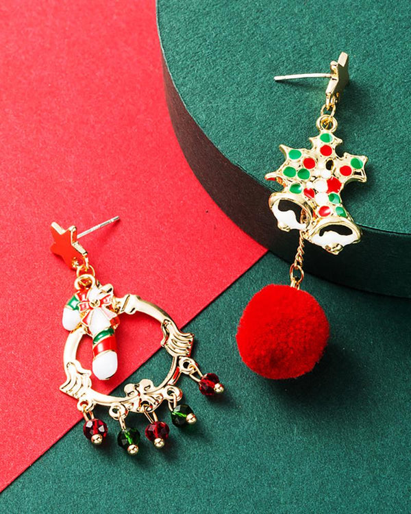 Christmas Pattern Pom Pom Drop Earrings