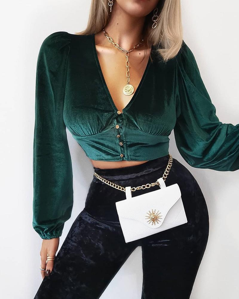 V Neck Button Velvet Crop Top