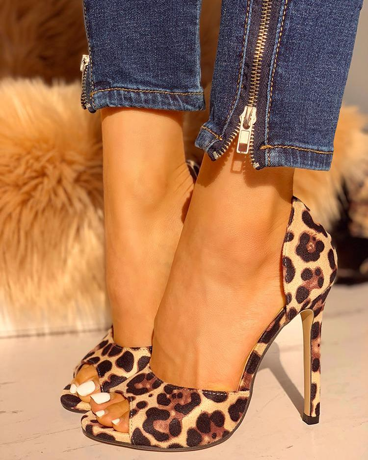 Leopard Suede Thin Heeled Sandals