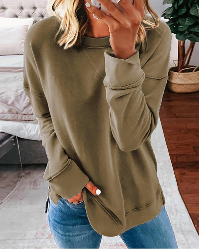 Solid Long Sleeve Casual Sweatshirt