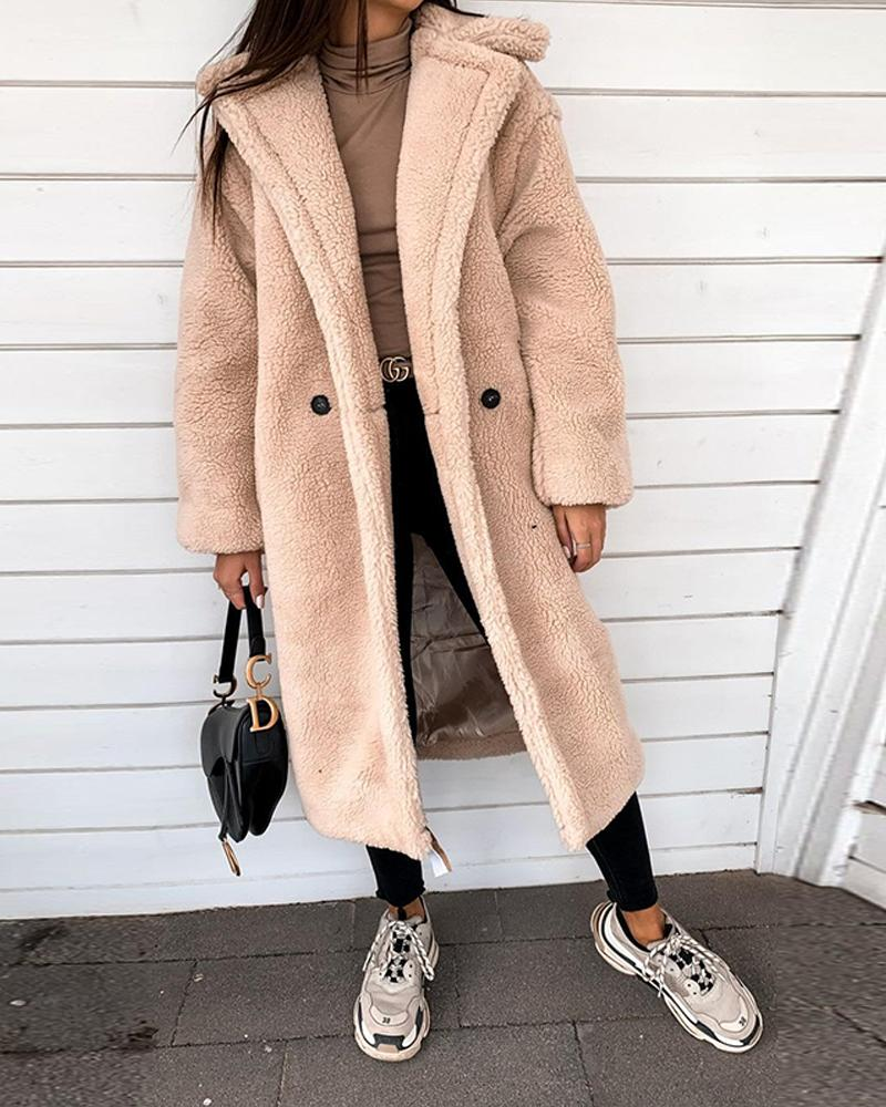 Faux Shearling Open Front Coat