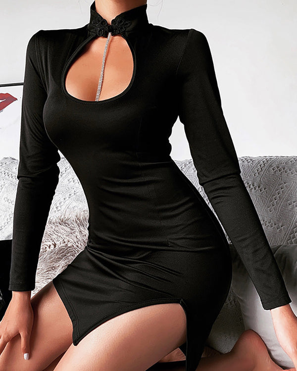 Solid Cut Out Slit Mini Dress