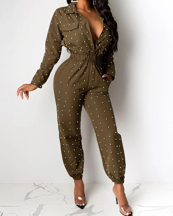 Studded Pocketed One Color Boilersuit