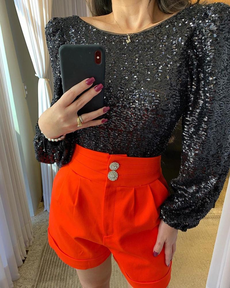 Sequins Puff Sleeve Tight Waist Backless Blouse