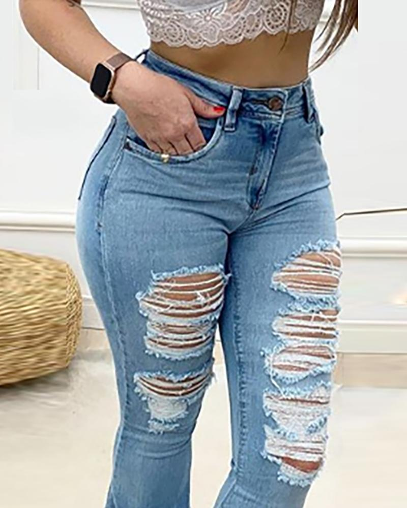Solid Denim Distressed Bell-Bottom Jeans