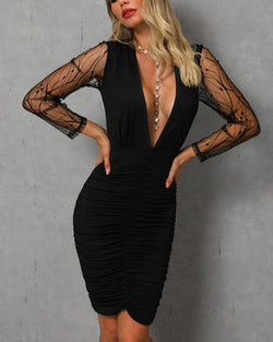 Sheer Mesh Sleeve Ruched Plunge Bodycon Dress