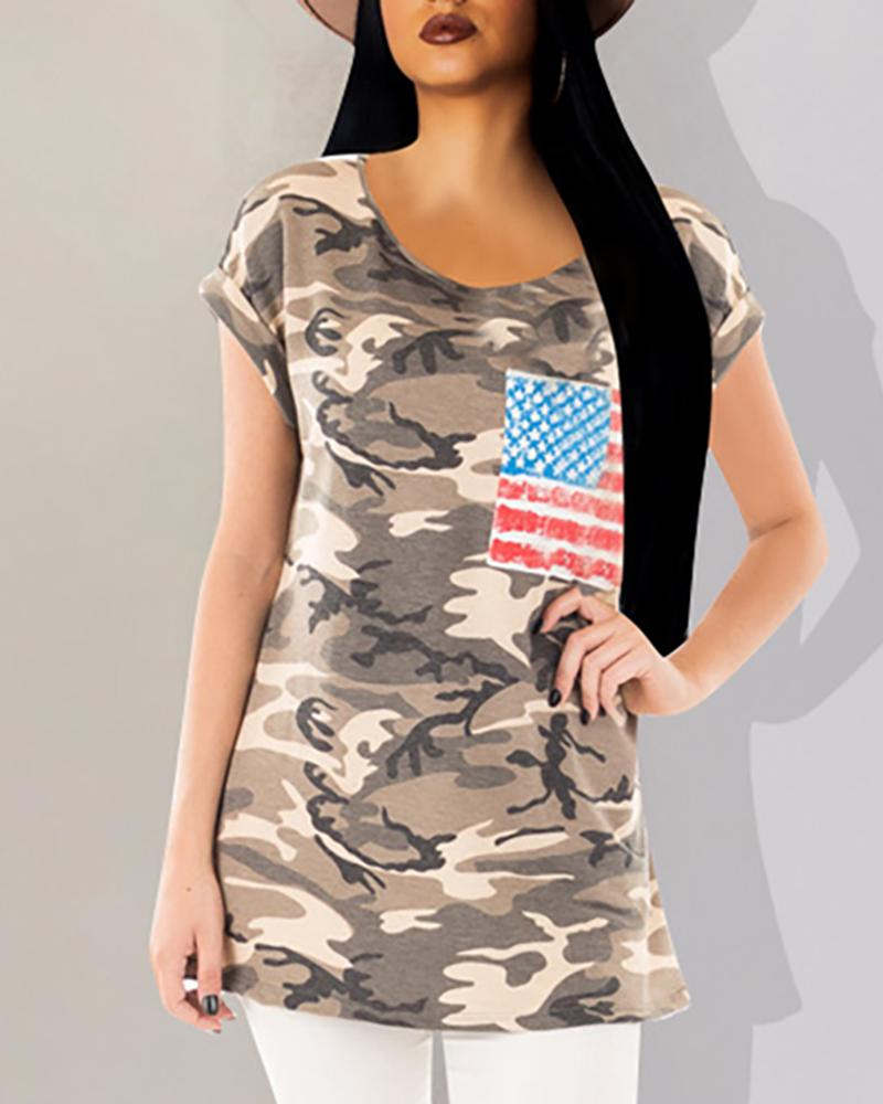 Camouflage Flag Pattern Casual T-shirt
