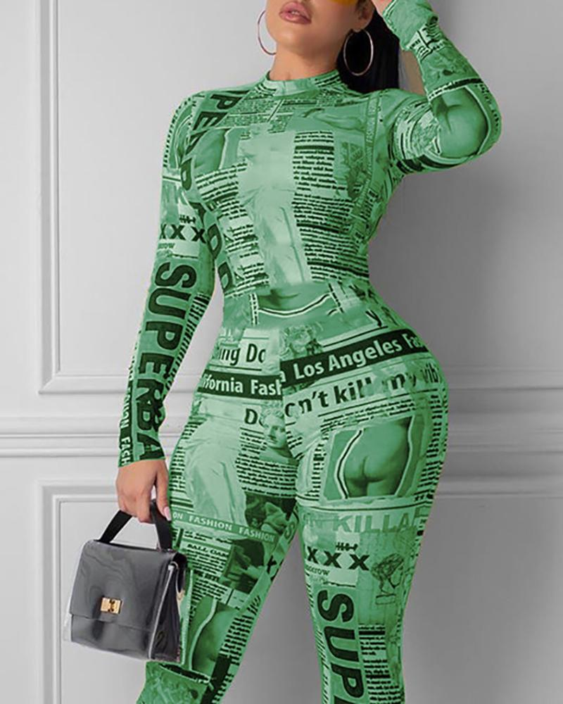 Newspaper Print Long Sleeve Jumpsuit