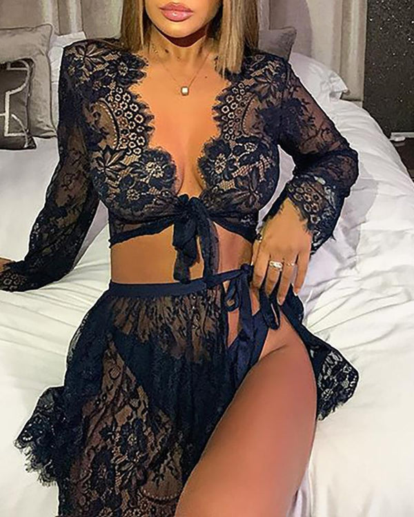 Eyelash Crochet Lace Knotted Sleepshirt With Panty