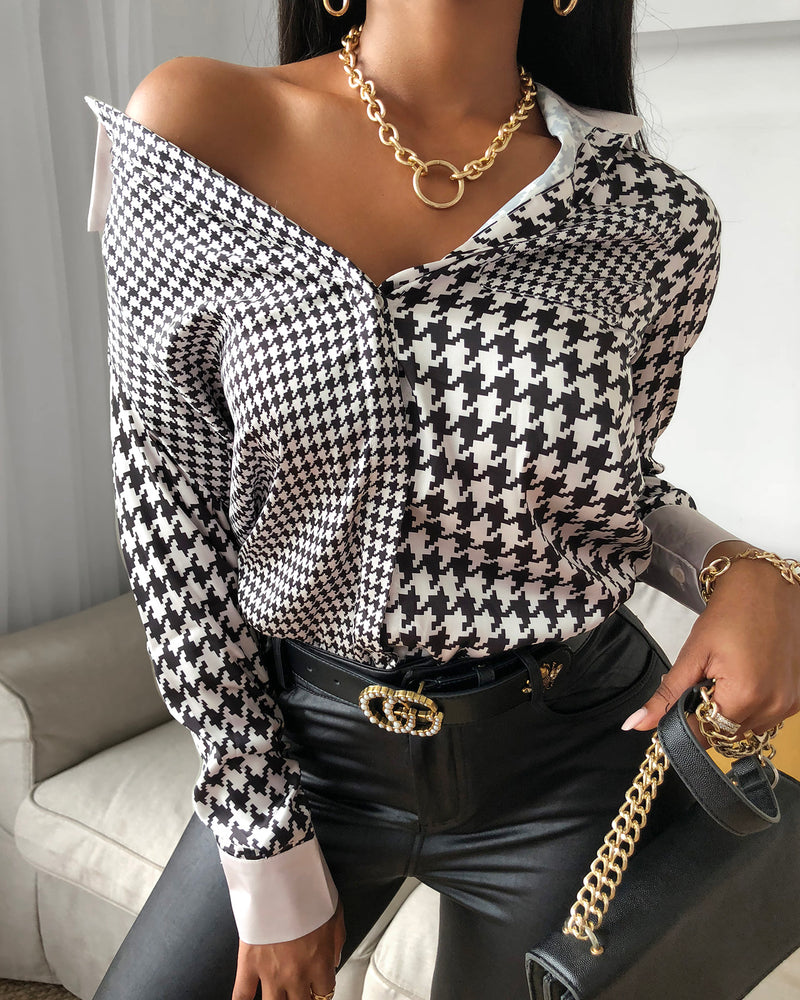 Houndstooth Pocket Design Long Sleeve Shirt