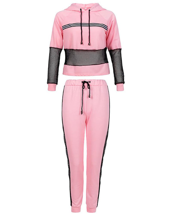 Striped Colorblock Fishnet Hooded Top & Pants Set
