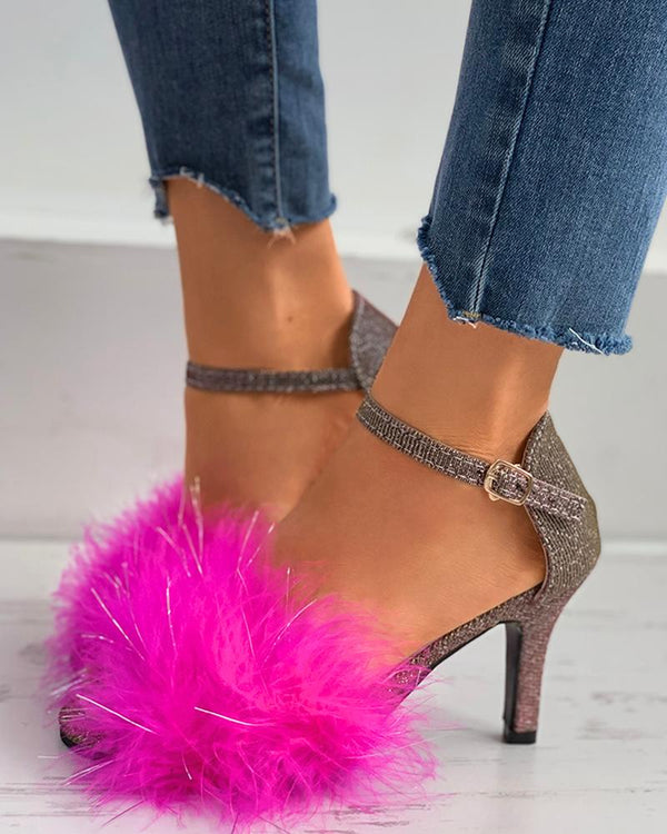 Fluffy Glitter Ankle Strap Pyramid Heel