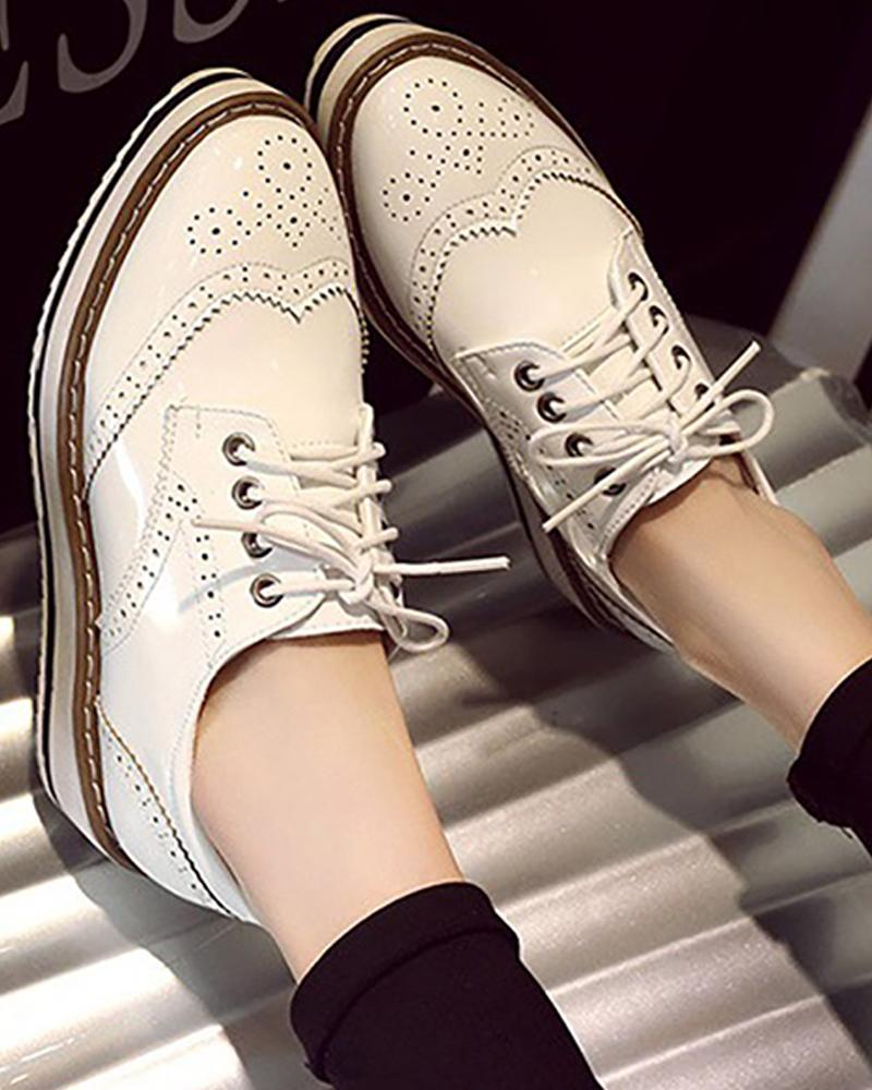 Perforated Lace-Up Platform Sneaker