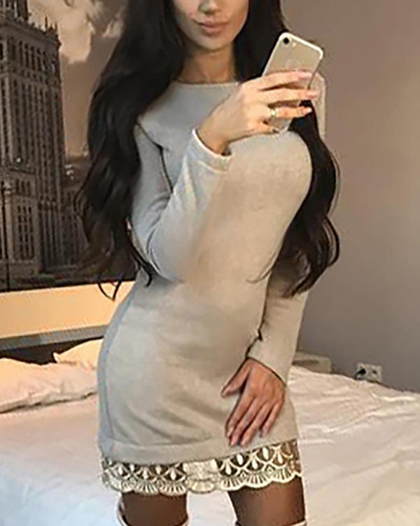 Lace Trim Long Sleeve Bodycon Dress