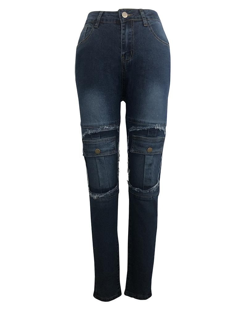 Fringes Hem Fake Pocket Jeans