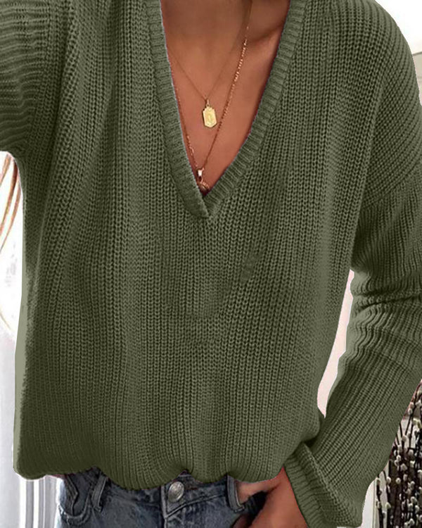 Plunge Long Sleeve Casual Knit Sweater