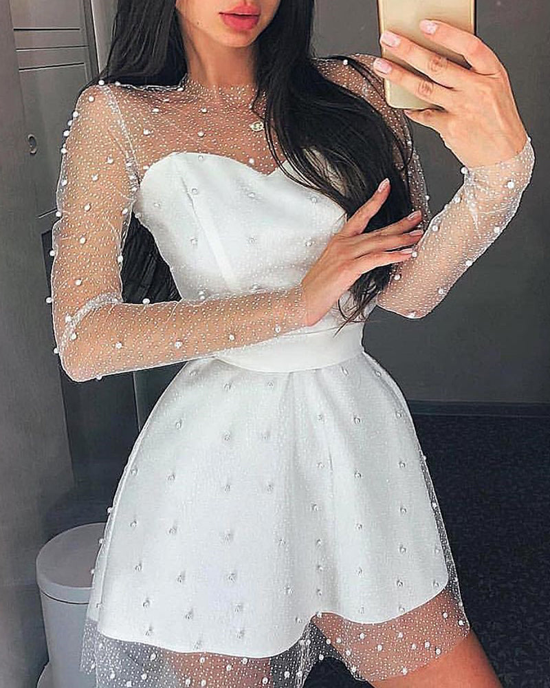 Beaded Sheer Mesh Insert Long Sleeve Dress