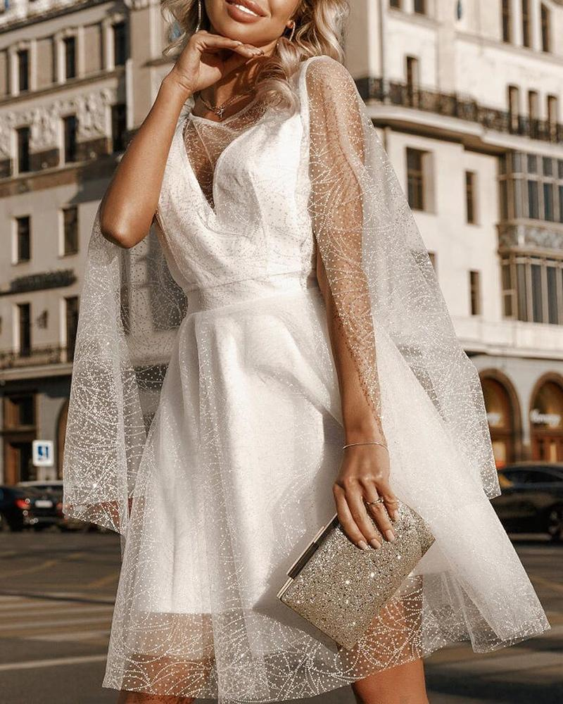Glitter Sheer Mesh Patchwork Cape Sleeve Dress