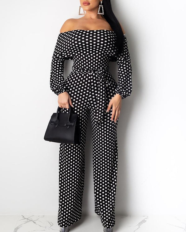 Off Shoulder Dot Tight Waist Jumpsuit