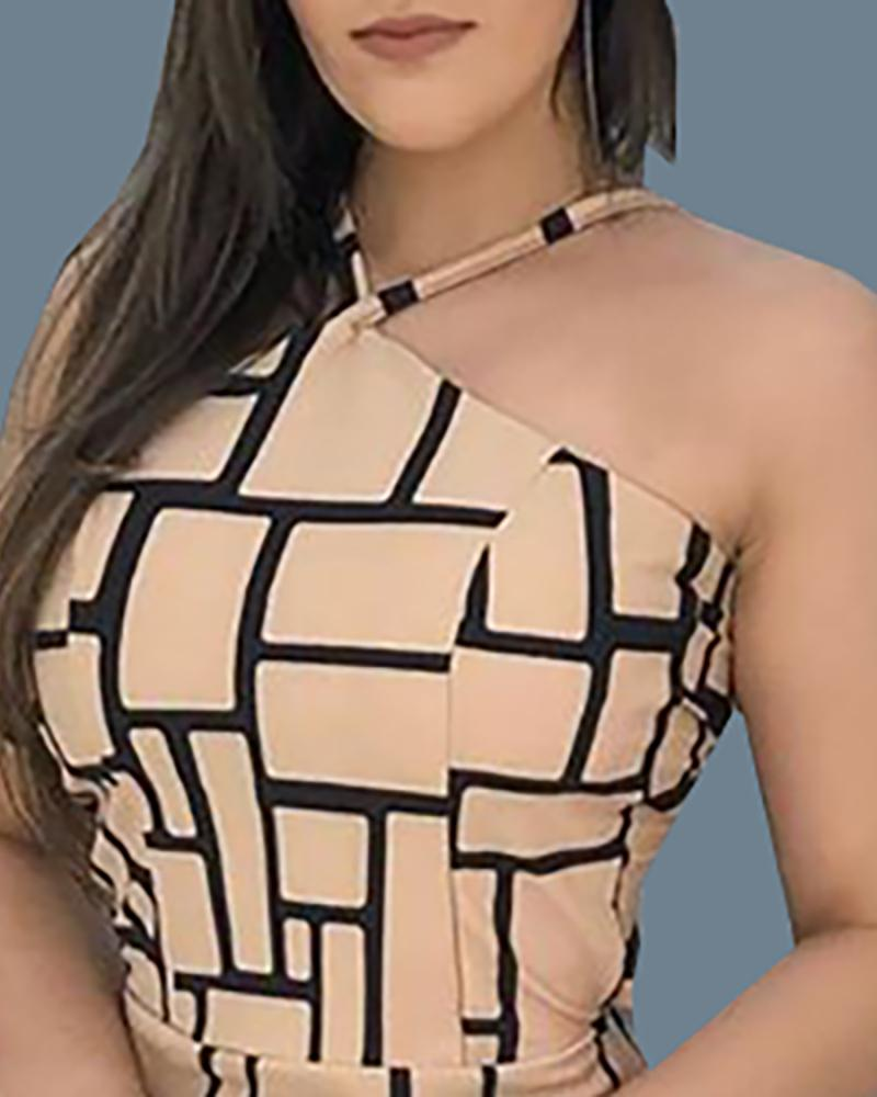 Grid Print Halter Backless Bodycon Dress