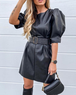 Puff Sleeve Faux Leather Dress