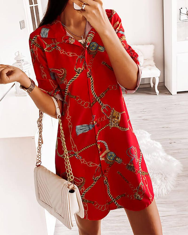 Chain Print Button Design Shirt Dress