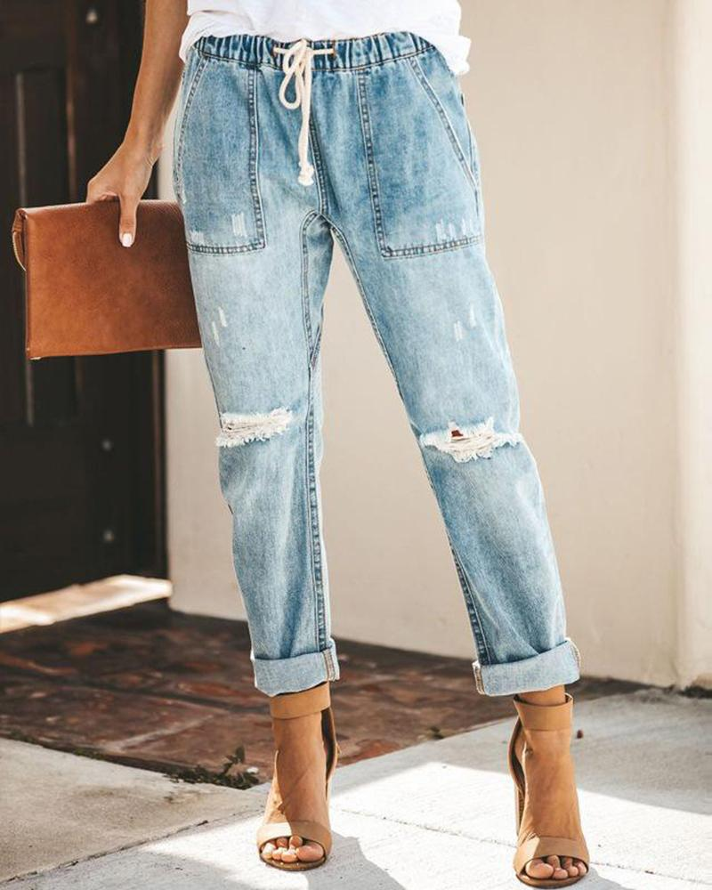 2019 spring fashion casual street hipster Korean version of cotton straight pants women's jeans