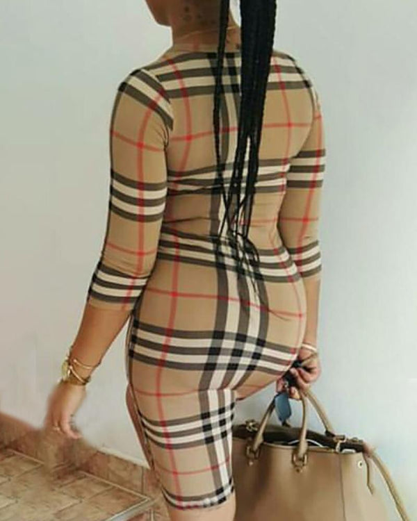 Round Neck Long Sleeve Plaid Bodycon Dress