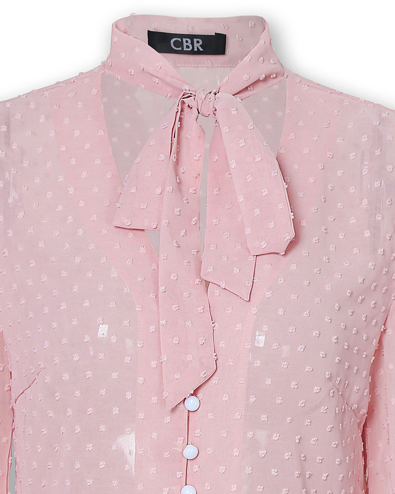 Tied Button Detail Dots Casual Shirt