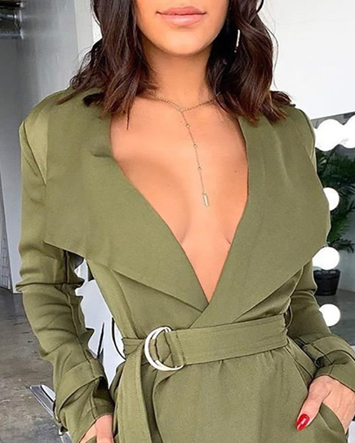 Solid Notched Collar Long Sleeve Blazer Dress