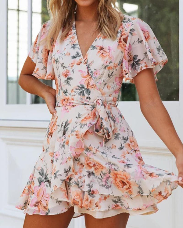 Floral V-Neck Ruffle Trim Mini Dress