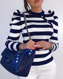 Colorblock Striped Puff Sleeve Sweater