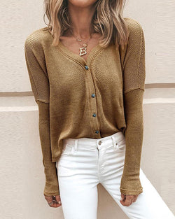 Ribbed Knit Button-Up Shirt