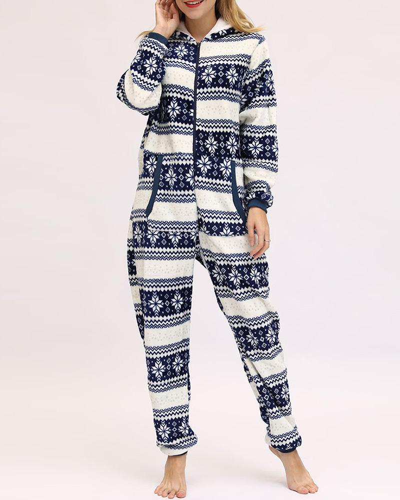 Christmas Mixed Print Hooded Lounge Jumpsuit