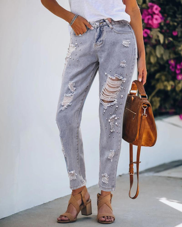 Beaded Ripped Cutout Casual Jeans