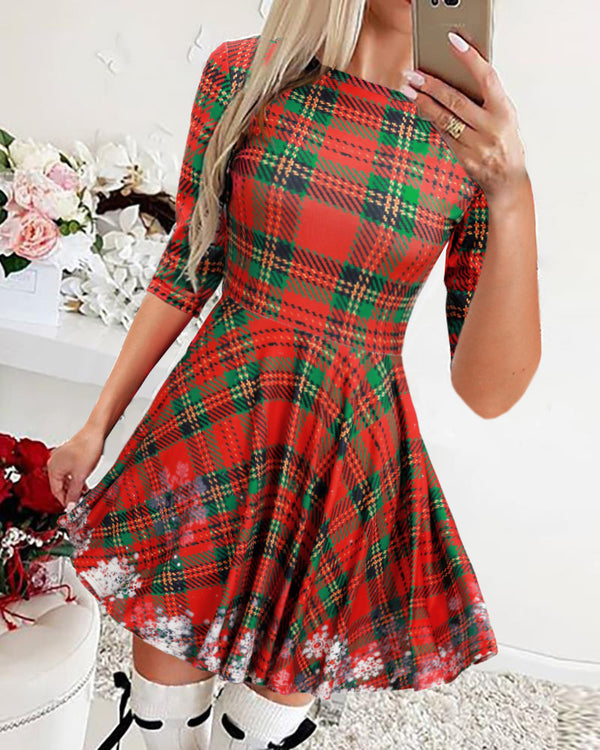 Christmas Plaid Print Pleated Dress